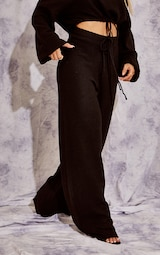 Recycled Black Knitted Wide Leg Pants 2