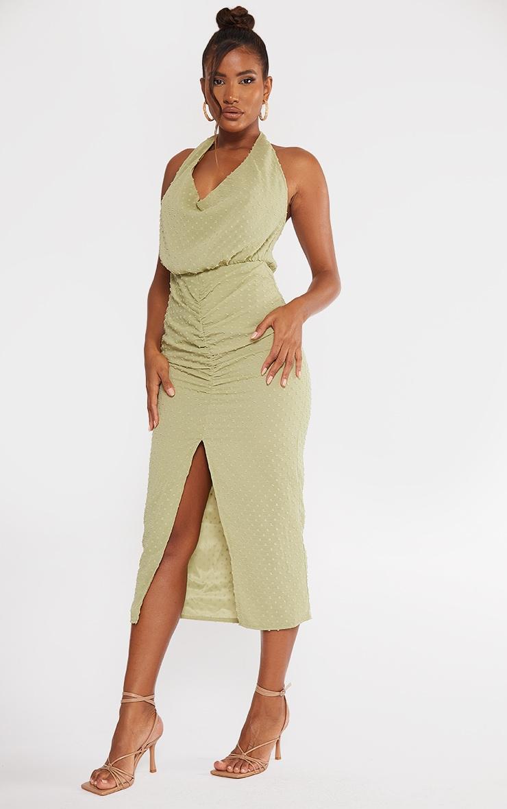Sage Green Dobby Chiffon Halterneck Cowl Ruched Midi Dress 1