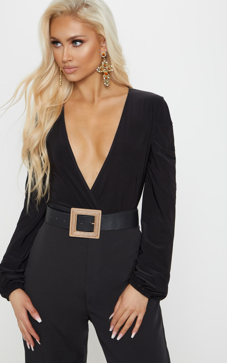 Black Slinky Plunge Balloon Sleeve Bodysuit