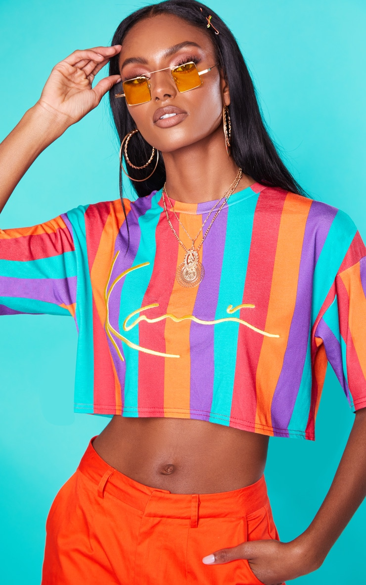 KARL KANI Multi Stripe Crop T Shirt