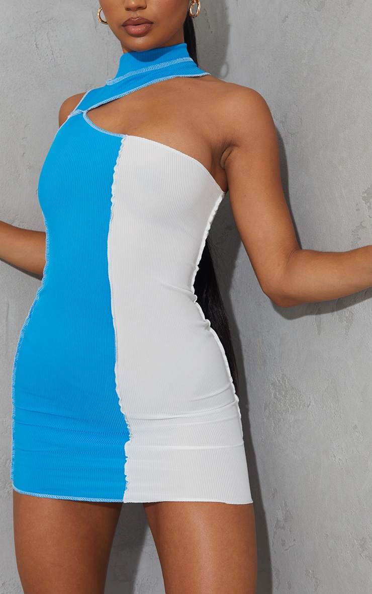 Bright Blue Rib High Neck One Shoulder Contrast Panelling Bodycon Dress 4