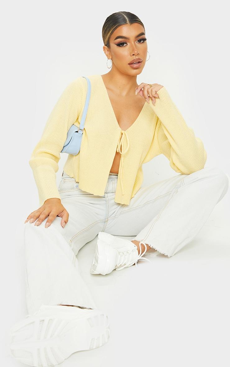 Yellow Tie Front Cardigan 1