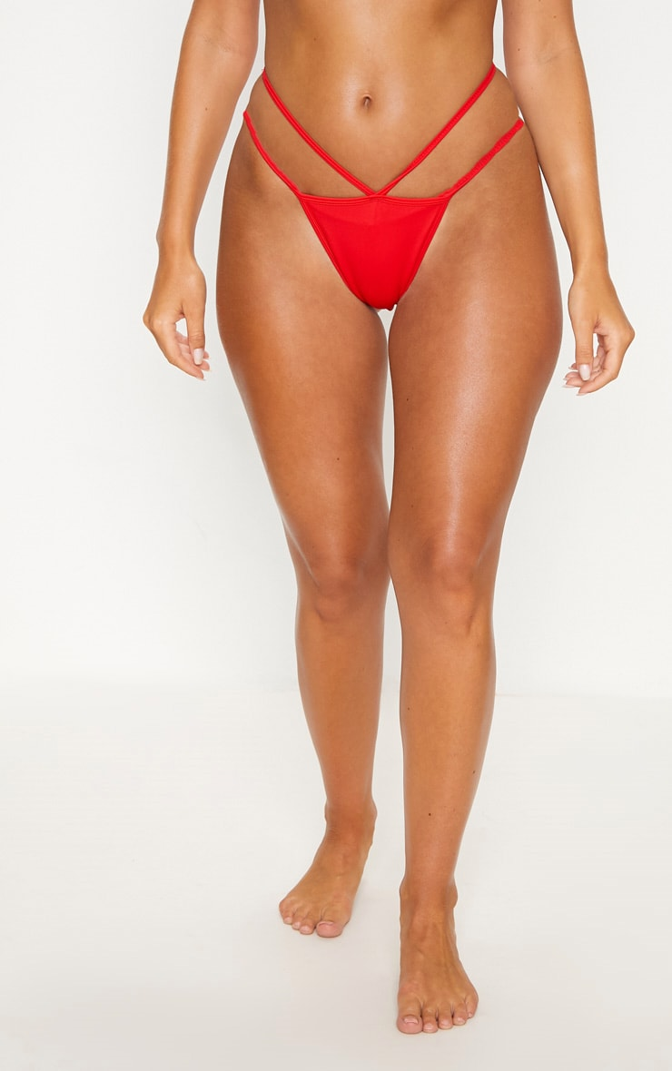 Red Double Strap Tanga Bottom 3