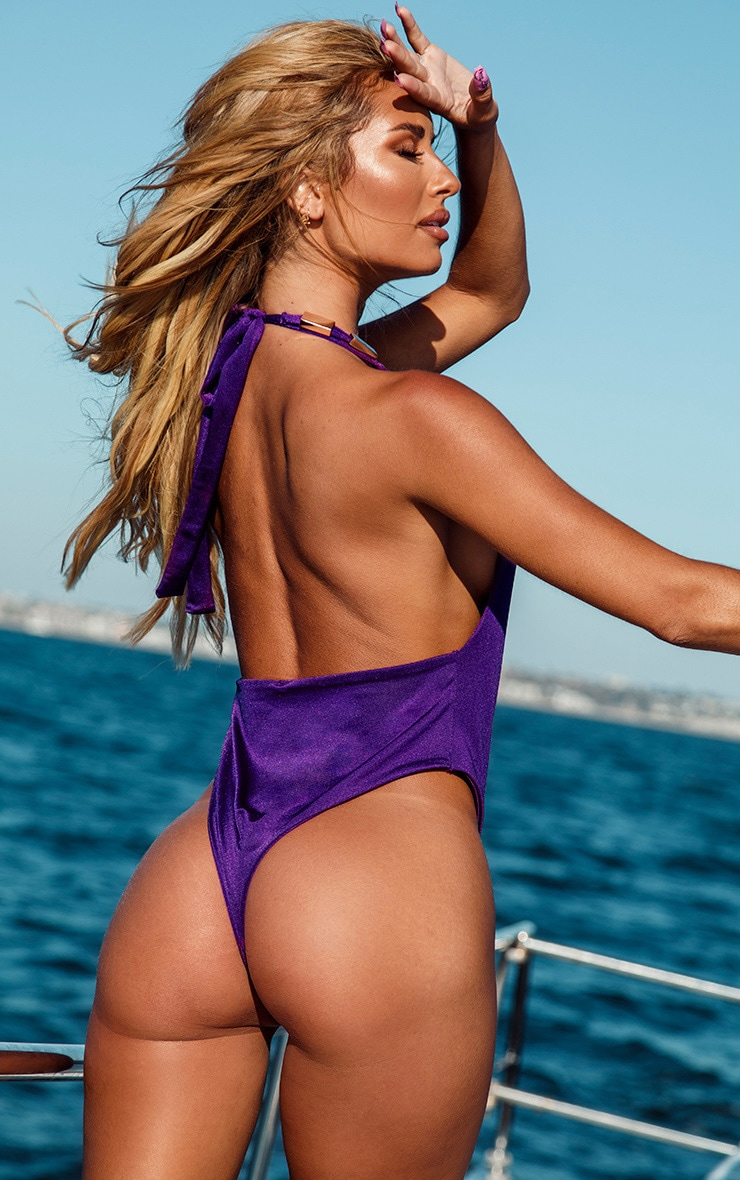 Purple Metal Trim Halterneck Swimsuit 2