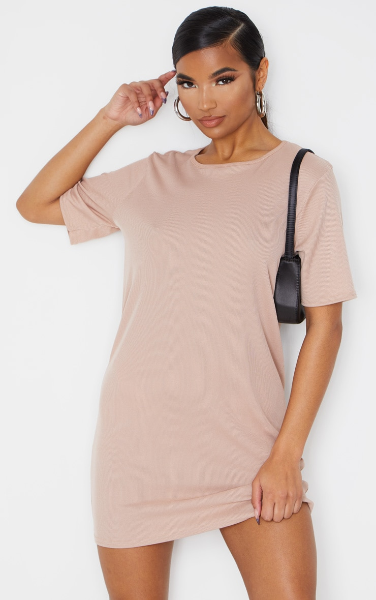 Stone Rib Short Sleeve T Shirt Dress 3