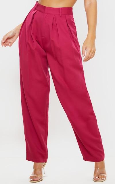 Pink Woven High Waisted Cigarette Leg Trouser