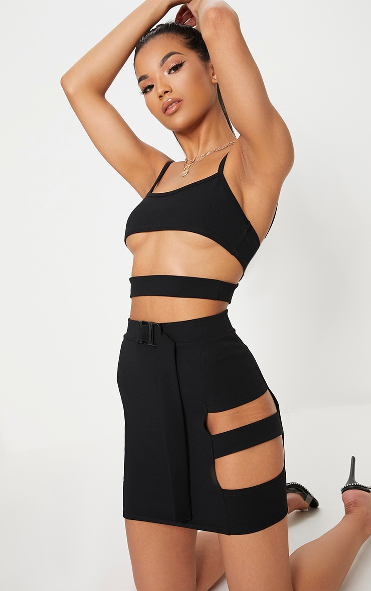 Black Crepe Cut Out Buckle Detail Mini Skirt 1