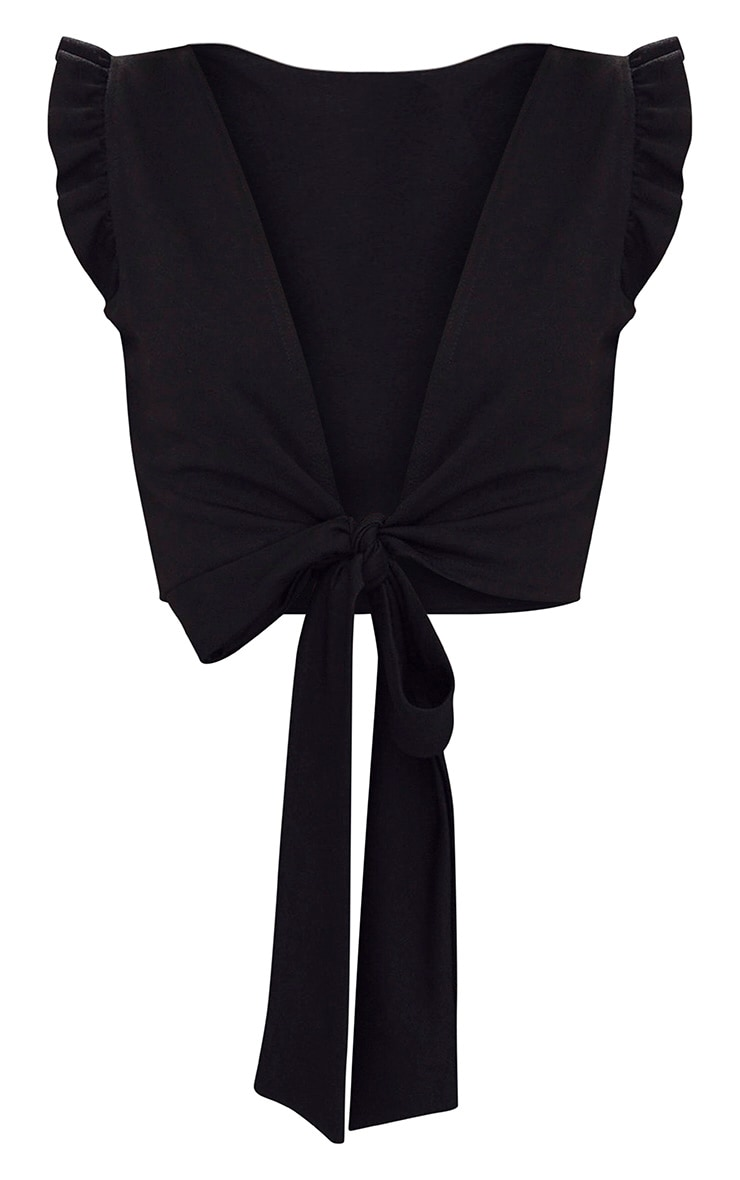 Black Frill Sleeveless Tie Front Crop Top 3