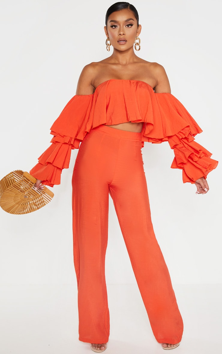 Bright Orange Woven High Waisted Wide Leg Pants 1