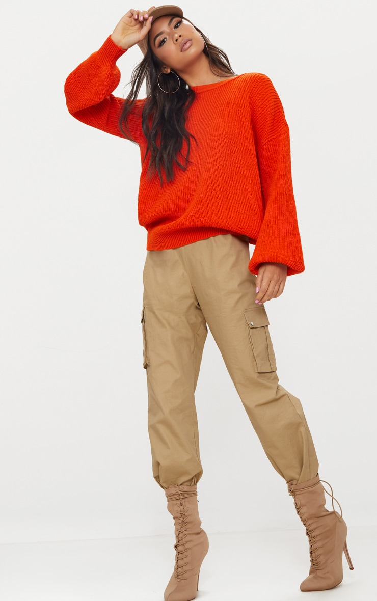 Orange Oversized Balloon Sleeve Jumper 1