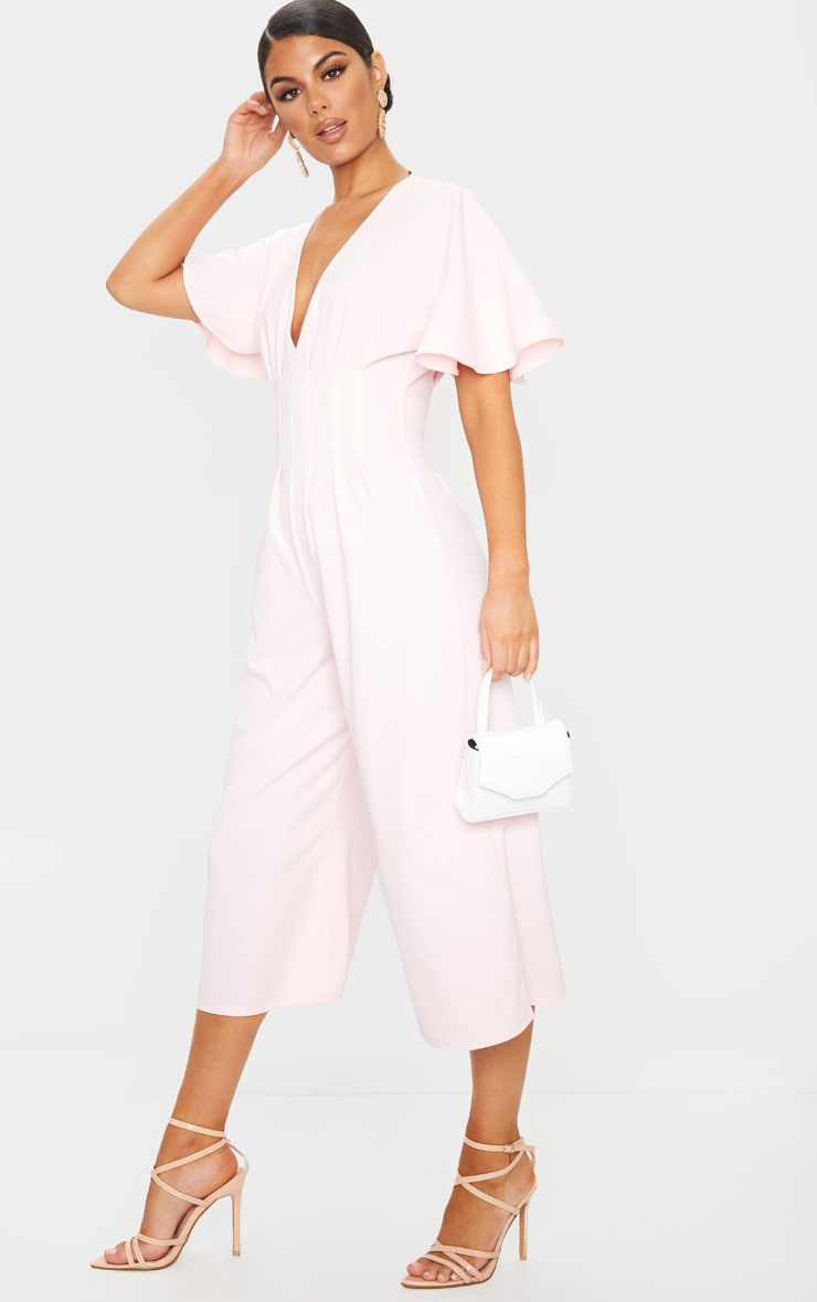 Dusty Pink Pleated Waist Plunge Culotte Jumpsuit 3