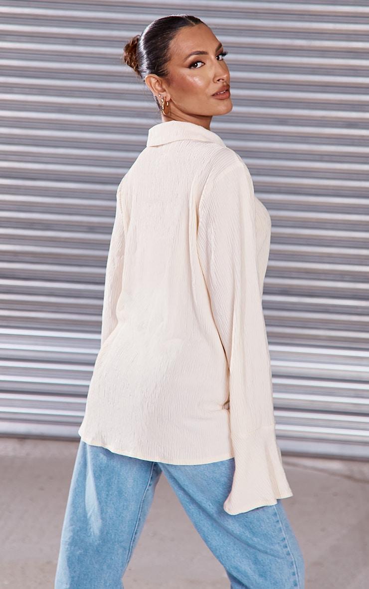 Cream Textured Pleated Shirt 2