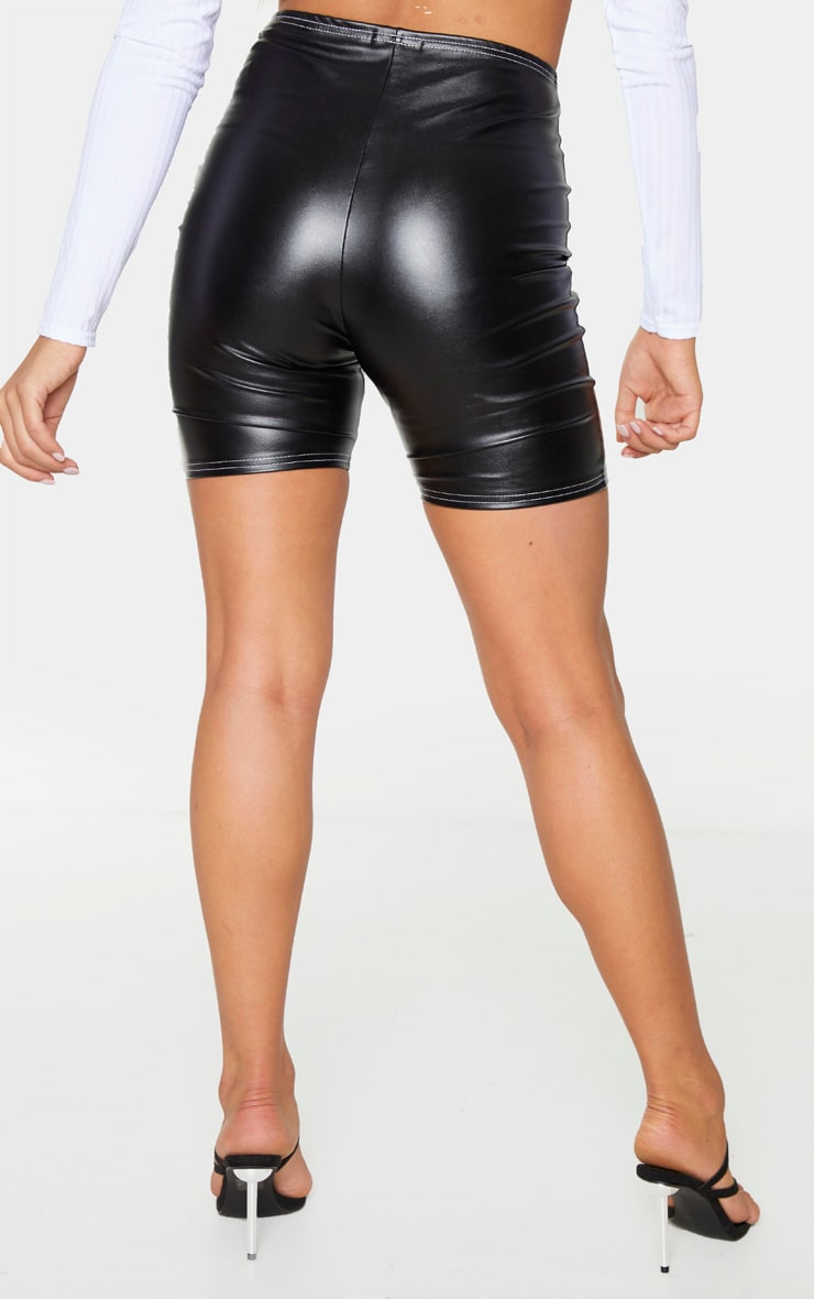 Black Faux Leather Contrast Stitch Cycle Shorts 3