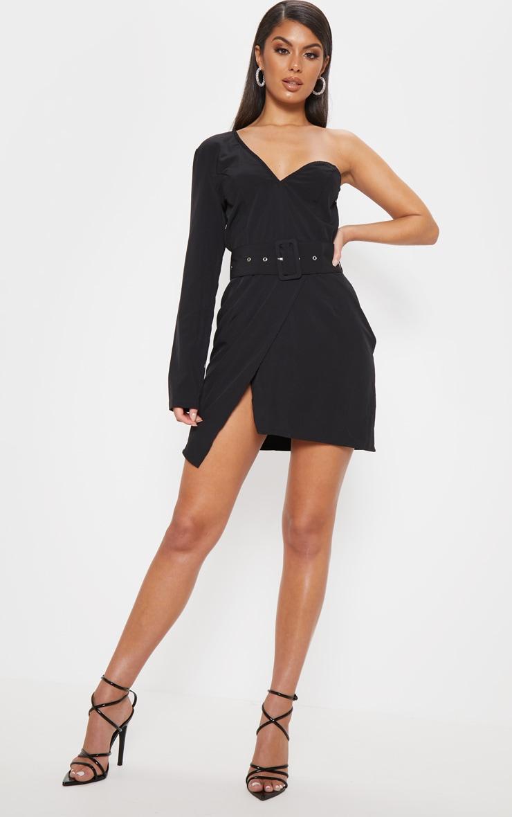 Black One Shoulder Belted Bodycon Dress  1