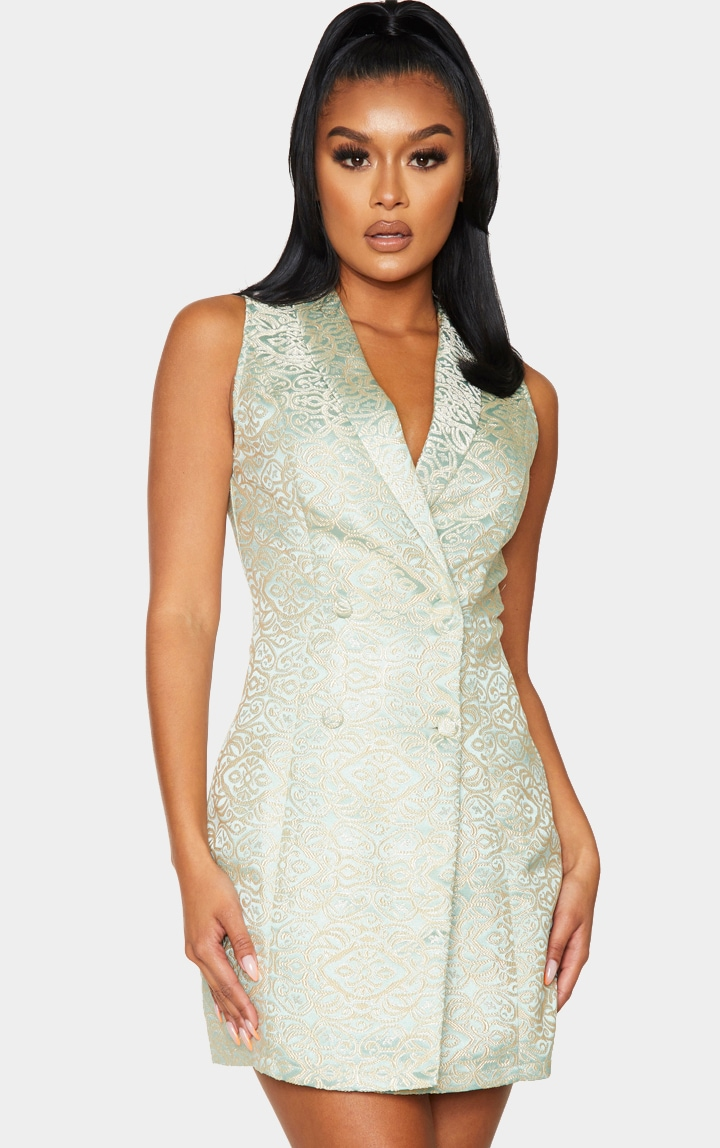 Sage Jacquard High Collar Sleeveless Blazer Dress 3