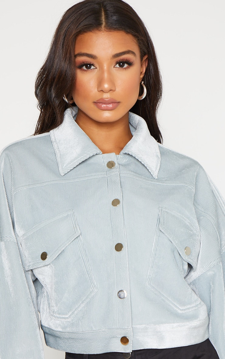 Baby Blue Cropped Cord Oversized Trucker Jacket  5