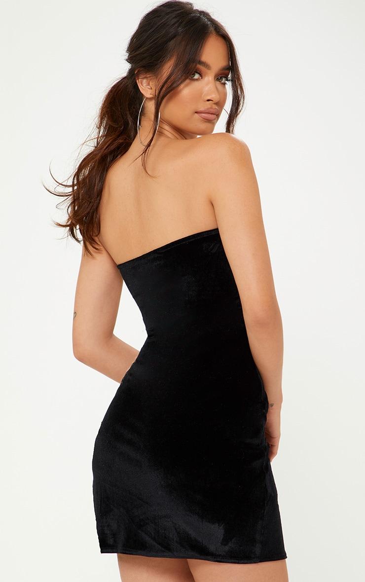 Black Velvet Bandeau Extreme Split Bodycon Dress 2