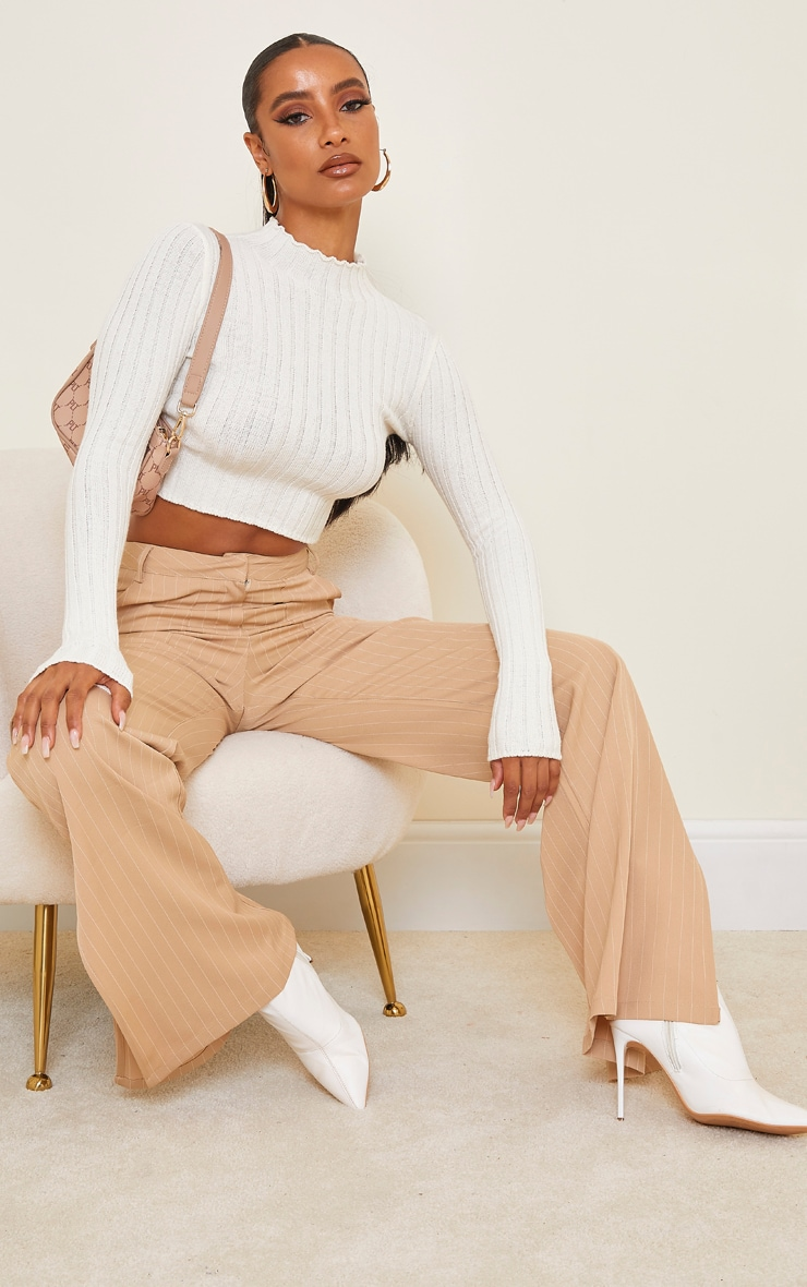 Cream Wide Rib Knitted Long Sleeve Crop Jumper 3