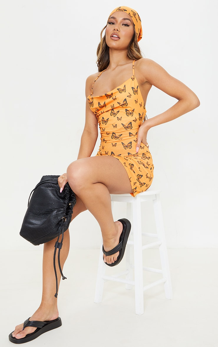 Orange Butterfly Print Lace Up Back Shift Dress 3