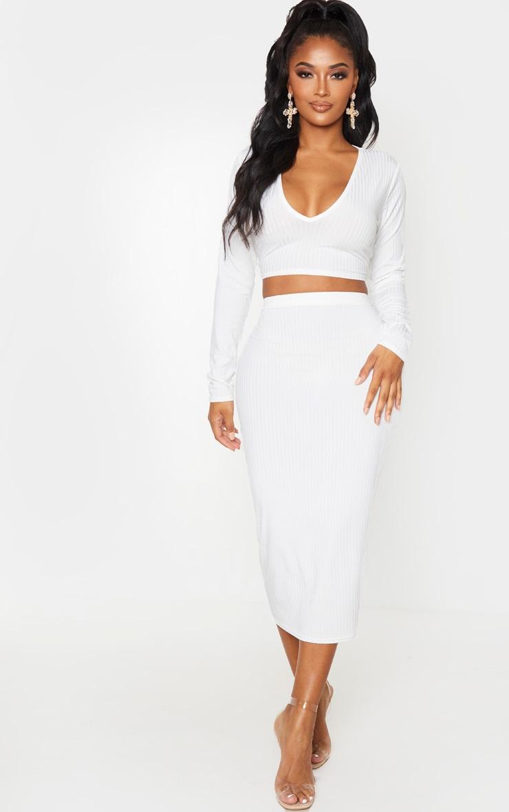 Shape Cream Ribbed High Waist Midi Skirt 1