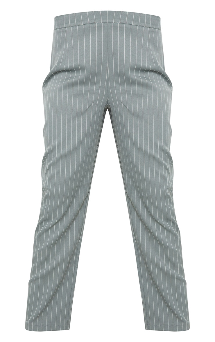 Teal Pinstripe Belted Straight Leg Trousers 5