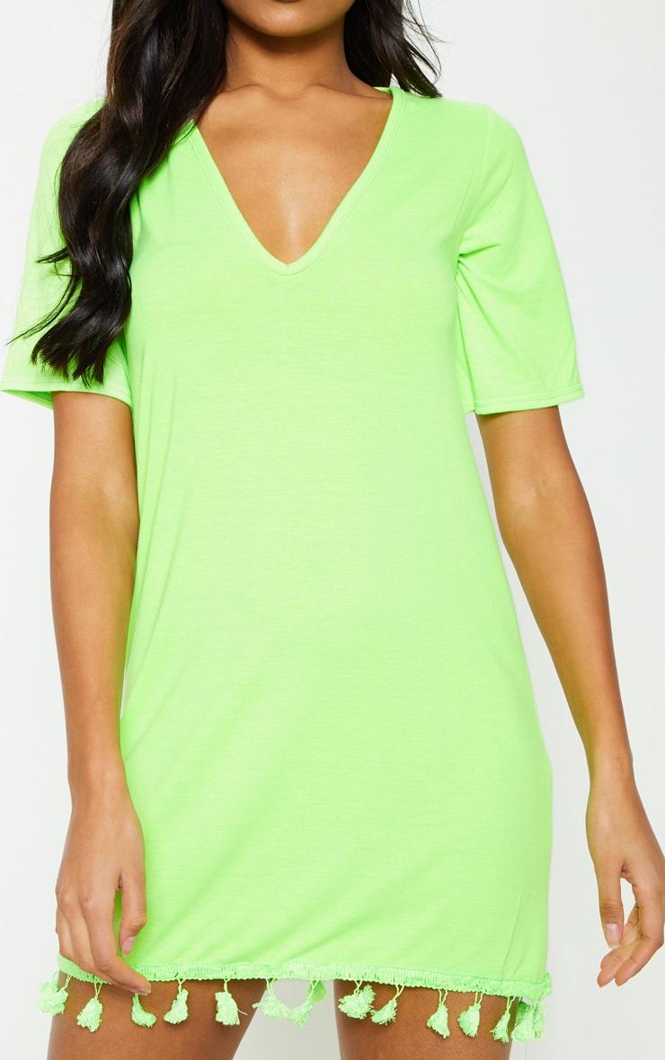 Neon Lime Tassel Trim T Shirt Dress 5