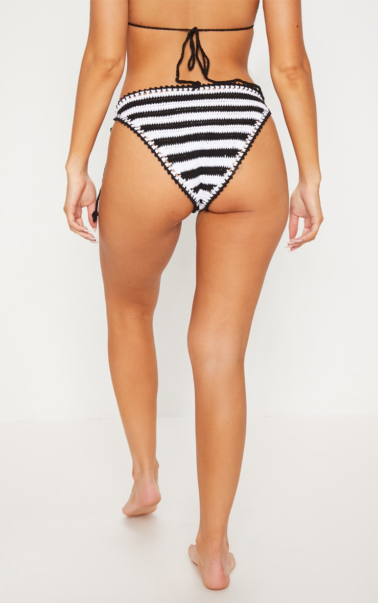 Black Striped Knitted Tie Side Beach Bottom 4
