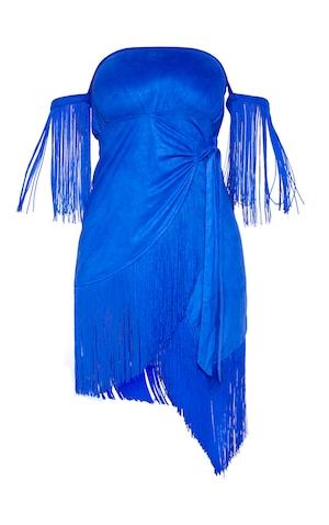 3579bb5f6b1 ... Cobalt Faux Suede Bardot Tassel Wrap Bodycon Dress image ...