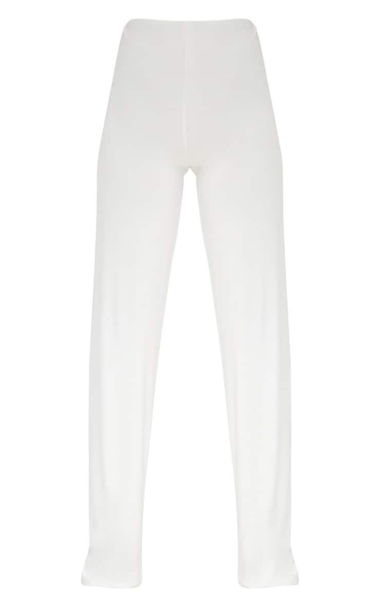 Cream Double Layer Slinky Wide Leg Trousers 3