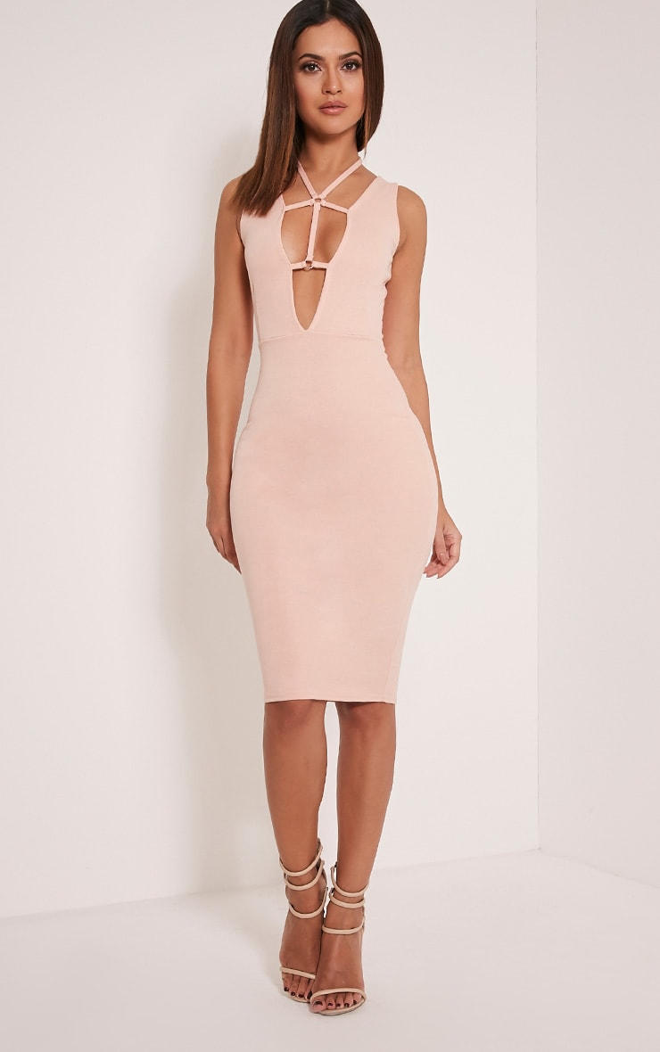Raynie Nude Sleeveless Harness Midi Dress 1
