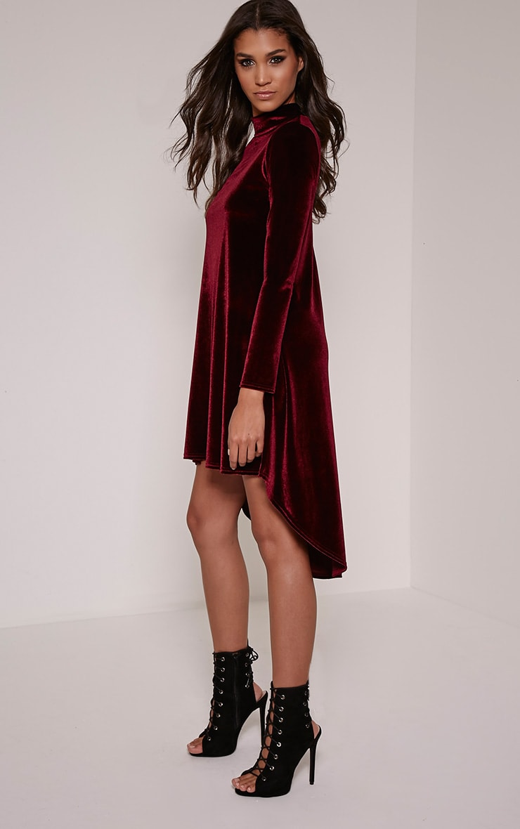 Rosay Wine Velvet Drop Hem Long Sleeve Dress 1