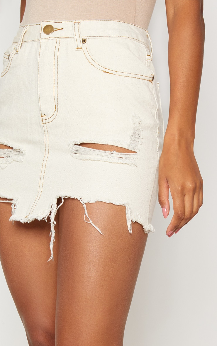 Contrast Stitch Distressed Denim Ecru Mini Skirt 6