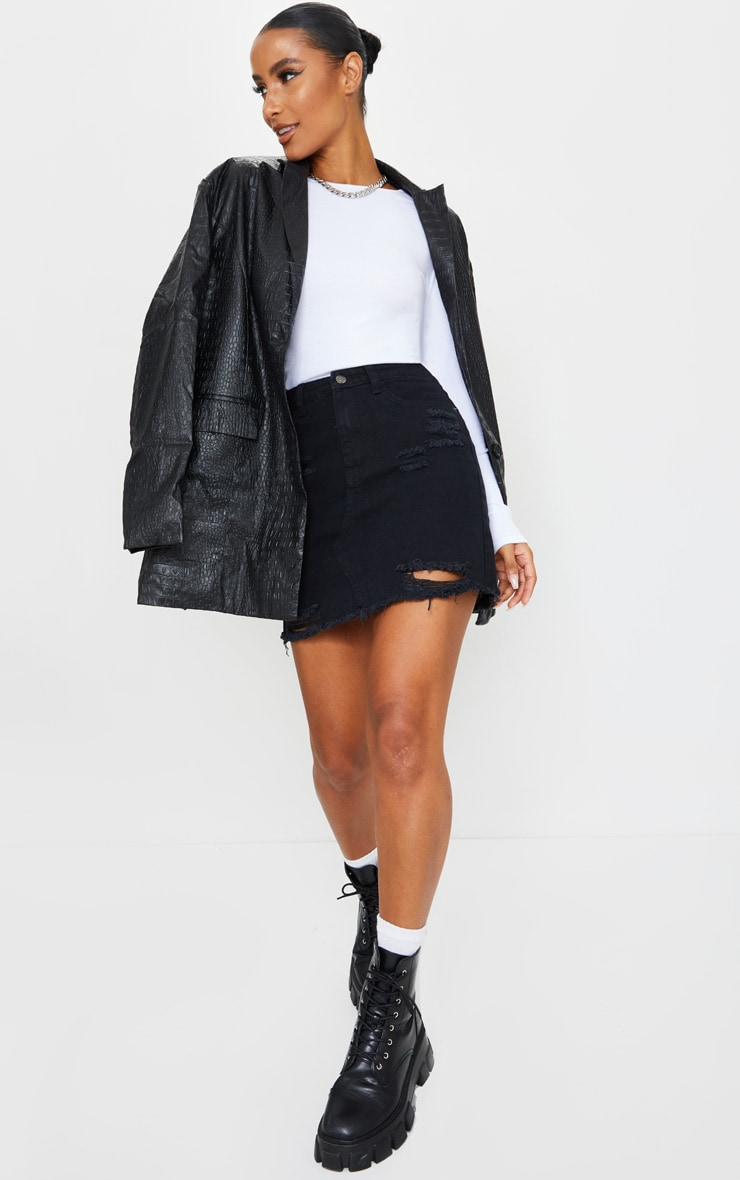 Black Distressed Rip Denim Mini Skirt 1