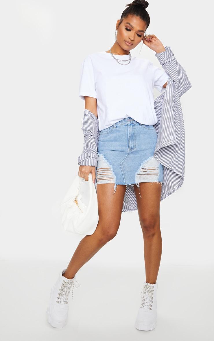 Light Blue Wash Distressed Mini Denim Skirt 4