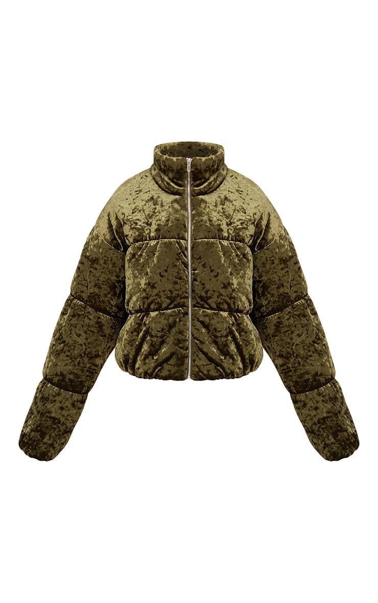 Khaki Velvet Cropped Puffer Coat 3