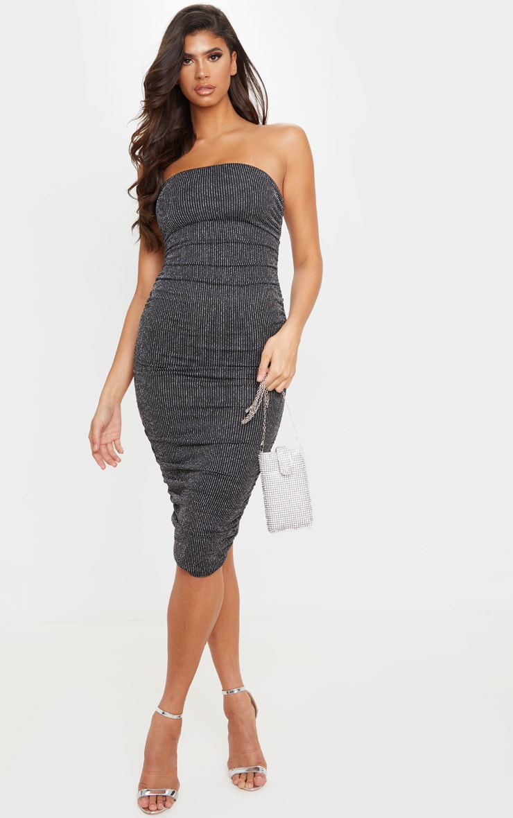 Silver Glitter Stripe Ruched Bandeau Bodycon Dress 1