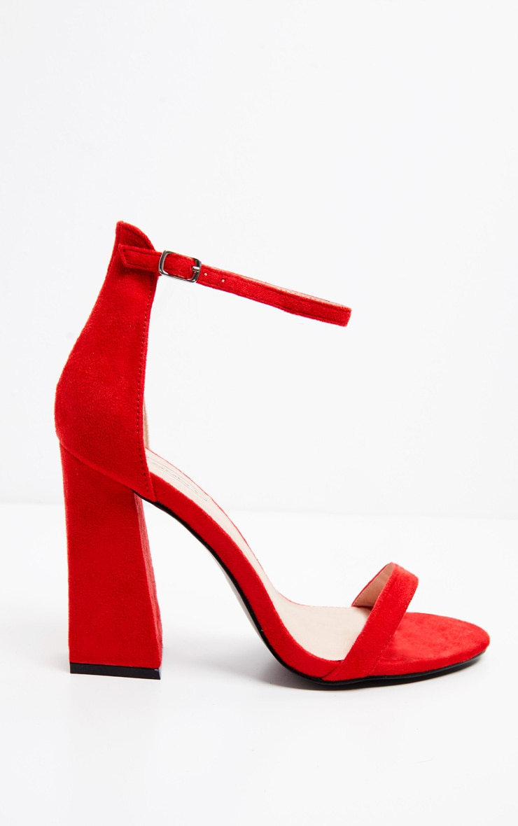 Red High Block Heel Strappy Sandal 4