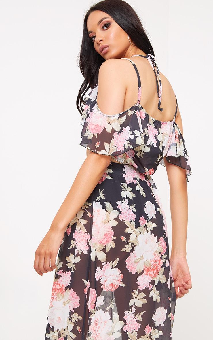 Black Floral Print Ruffle Cami Top 2