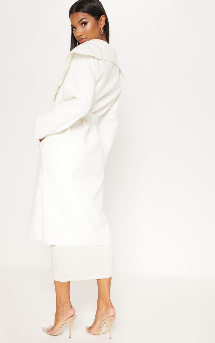 Veronica Cream Oversized Waterfall Belt Coat 2