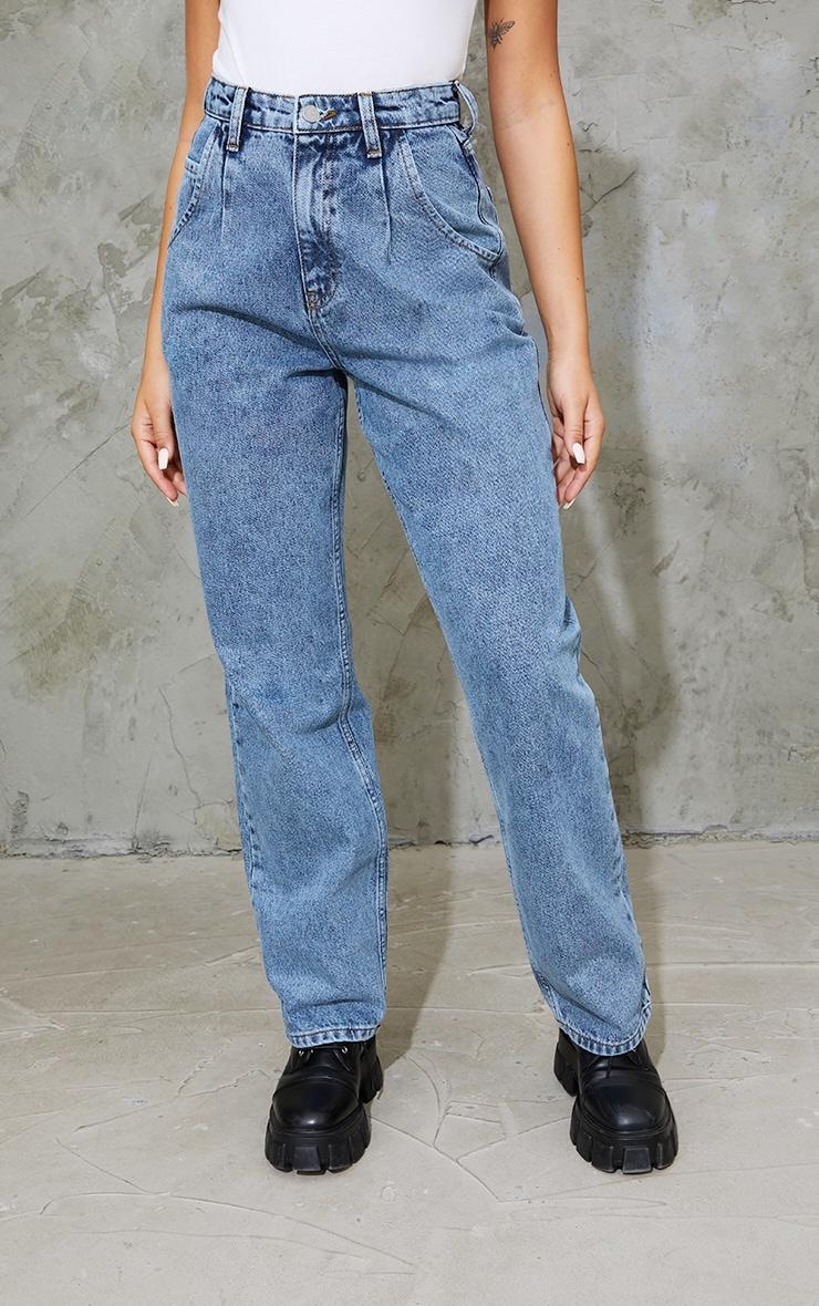 Vintage Wash Seam Detail Wide Leg Jean 2