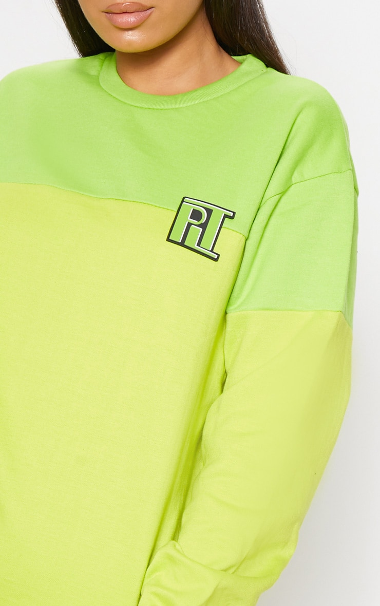 PLT Neon Lime Two Tone Oversized Sweater 5