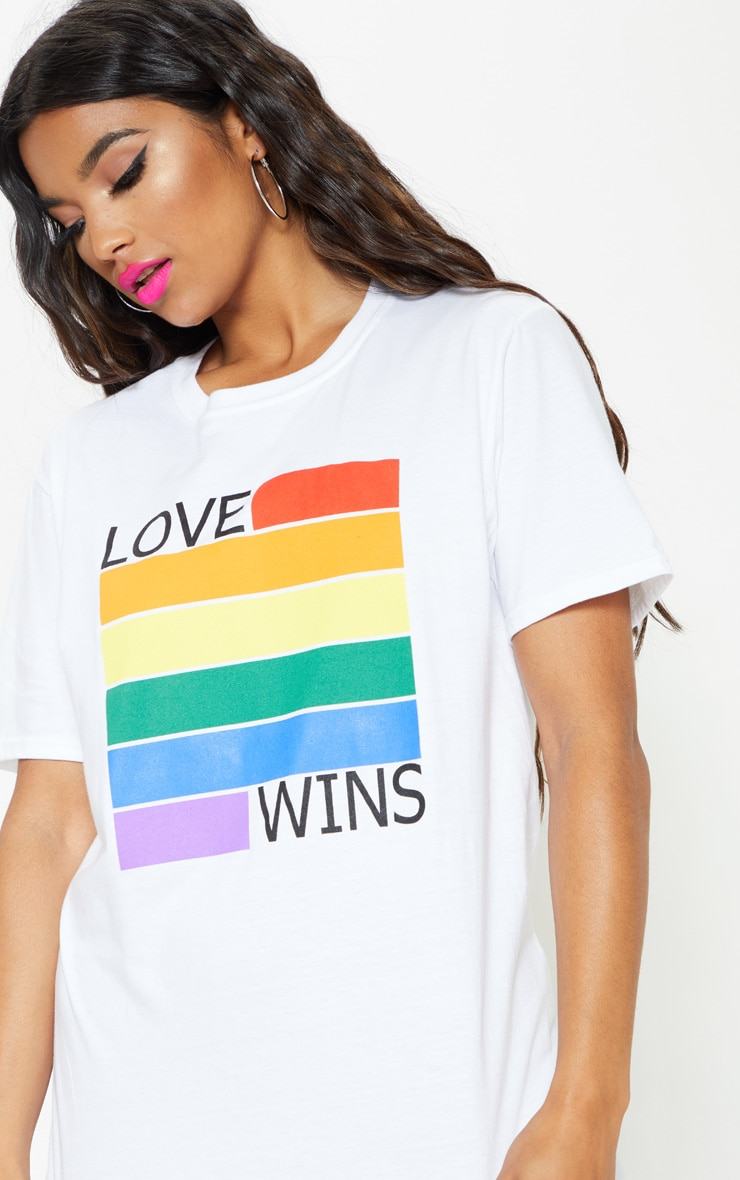 UNISEX White LOVE WINS Oversized T-shirt 2