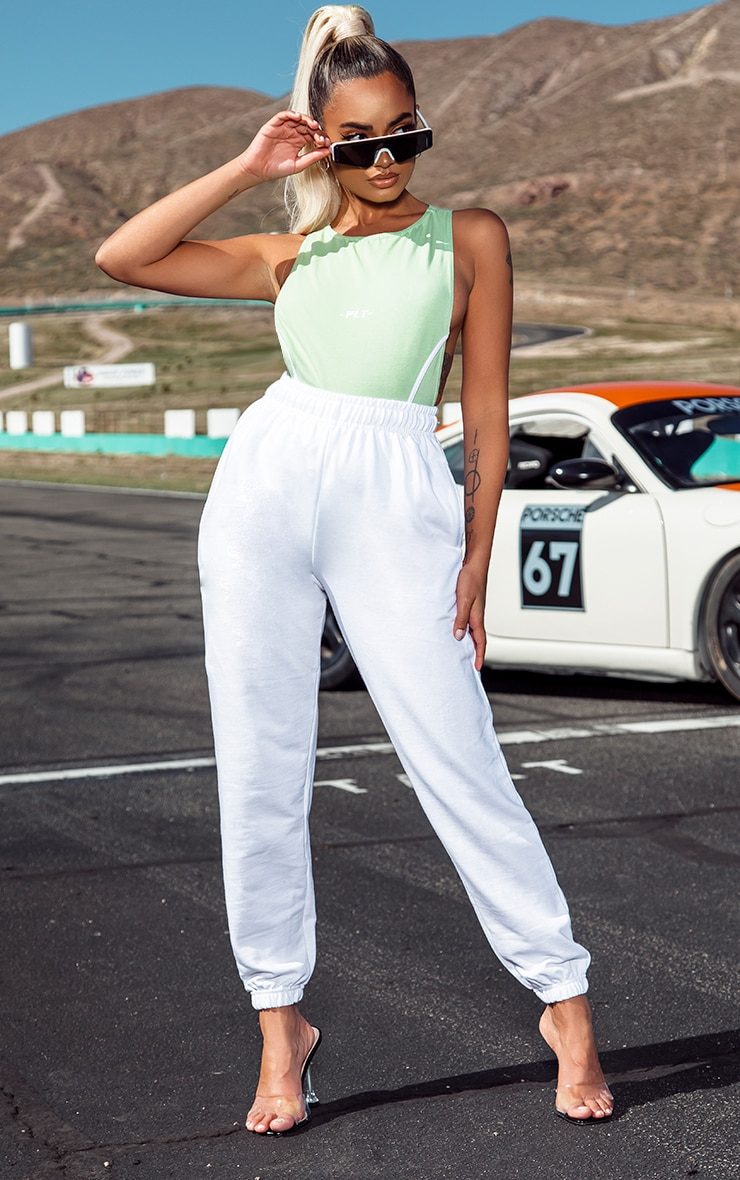 Petite White Casual Track Pants 1