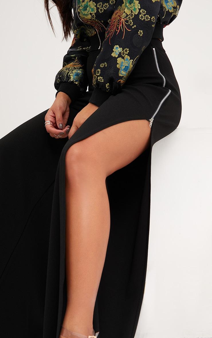 Black Zip Split Wide Leg Track Pants 5
