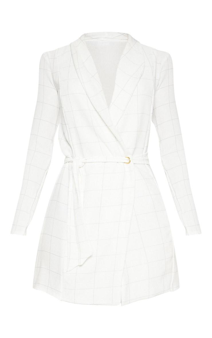 Robe manches longues blanche à carreaux style blazer 3
