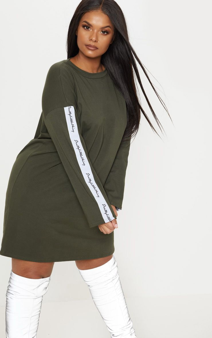 PRETTYLITTLETHING Plus Khaki Tape Long Sleeve T Shirt Dress 1
