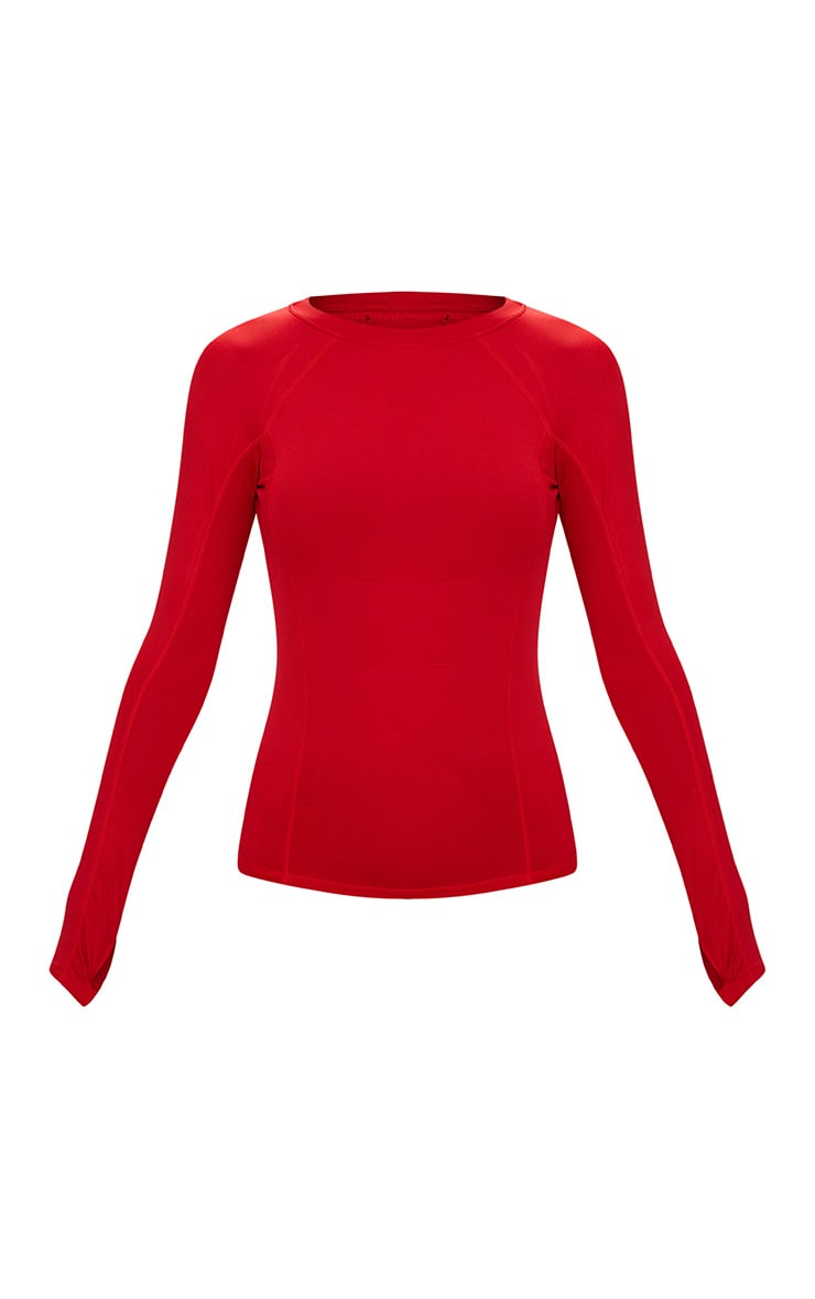 Red Long Sleeve Gym Top 3