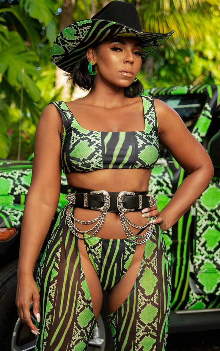Lime Snake Print Tie Side Bikini Bottom 1