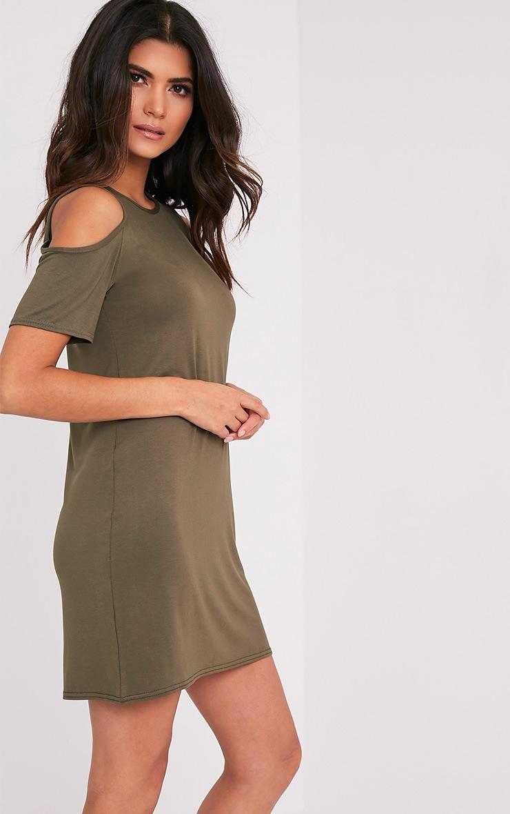 Neeka Khaki Cold Shoulder T-Shirt Dress 4