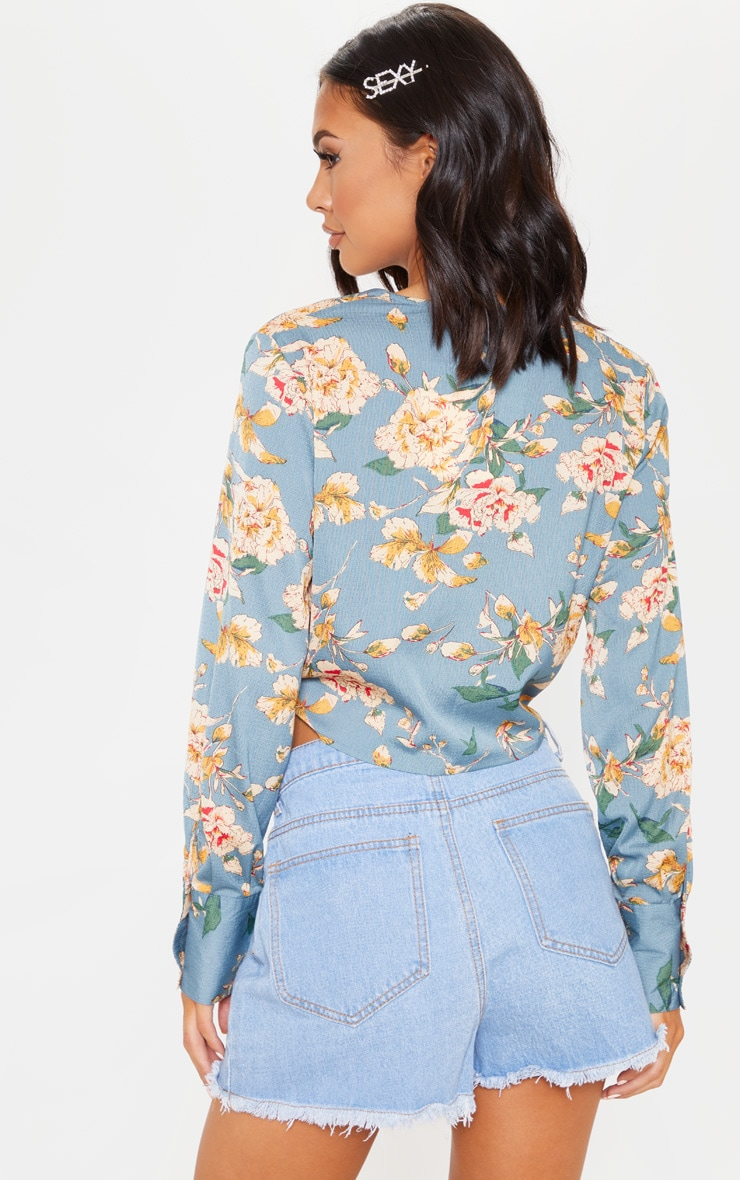 Teal Floral Tie Front Cropped Blouse 2